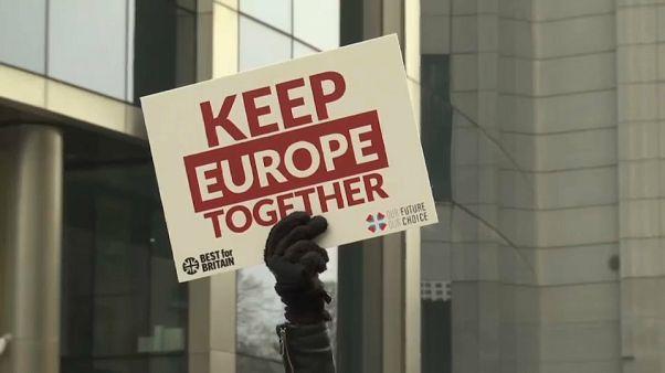 شاهد: العشرات يتظاهرون لبقاء بريطانيا في الاتحاد الأوروبي