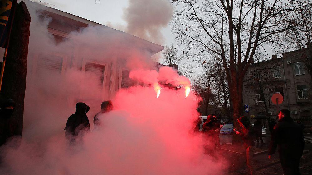 Пожар на территории консульства РФ в Харькове