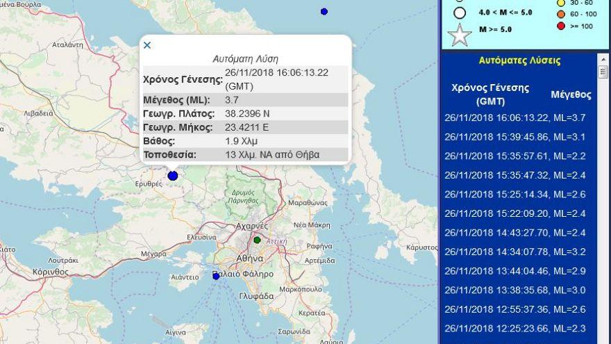 Σεισμός 3,7 ρίχτερ στη Θήβα- Αισθητός στην Αθήνα