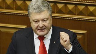 Poroshenko durante la sesión en el Parlamento en Kiev