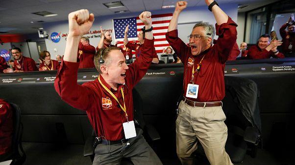 NASA engineers Kris Bruvold (L) and Sandy Krasner