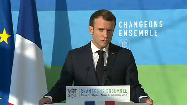 Macron klímaügyről és tüntetőkről is beszélt