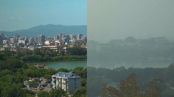 صورة تظهر تأثير التلوث على سماء العاصمة الصينية بكين