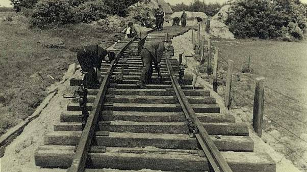 Construction of railway tracks leading to the Westerbork camp.