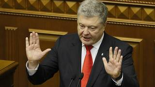 Ukrainian President Petro Poroshenko speaks in Parliament