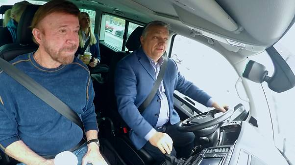 Viktor Orbán drives Chuck Norris to a counter-terrorism training operation