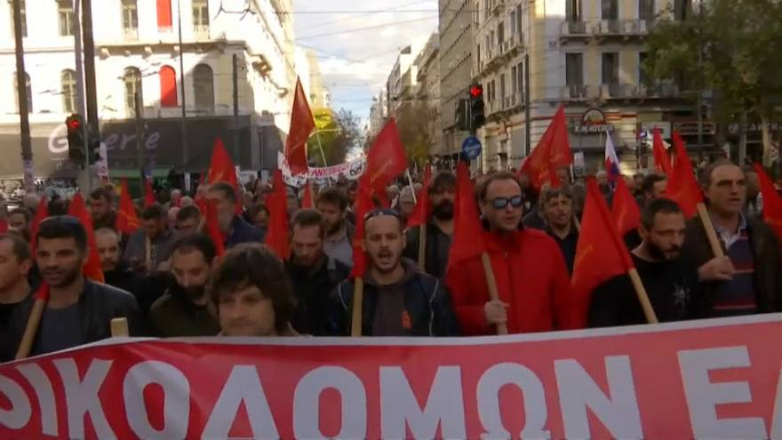 Greek workers strike, seeking wage hike, tax cuts