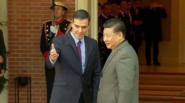 Protestos marcam visita do presidente chinês a Espanha
