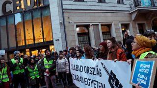 Tüntetés a CEU mellett 2018. november 24-én