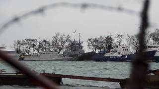 Ukrainian naval ships seized by Russia anchored in Kerch