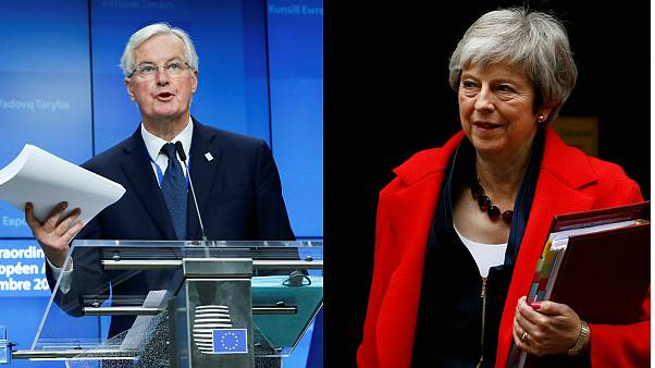 Michel Barnier (UE) e Theresa May (Reino Unido) promovem acordo do Brexit