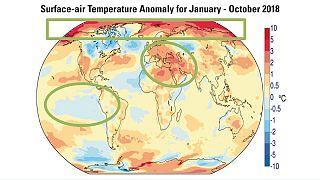 Anomalía de temperaturas de enero a octubre de 2018 (en rojo, más cálido)