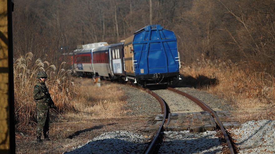 A South Korean train travels to North Korea