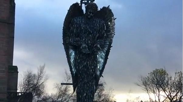 Sculpture made with 100,000 blades highlights UK knife crime problem