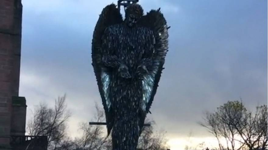 Sculpture made with 100,000 blades highlights UK knife crime problem