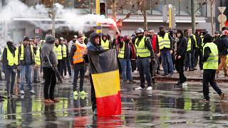 'Gilets jaunes' at the Brussels protest on November 30, 2018