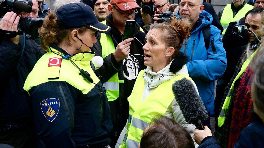 """Hollanda'nın çeşitli kentlerinde """"sarı yelekliler"""" protesto düzenledi"""