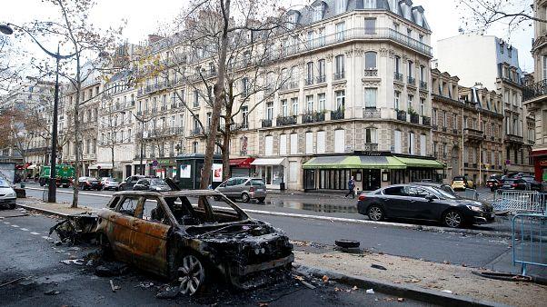 A vandalized car in Paris on Dec 2, 2018.