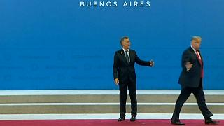 Watch: Argentine president left standing awkwardly after Trump wanders off