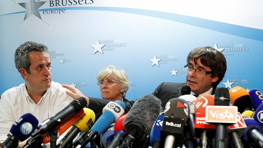 Sacked Catalan leader Carles Puigdemont and Joaquim Forn and Clara Ponsati