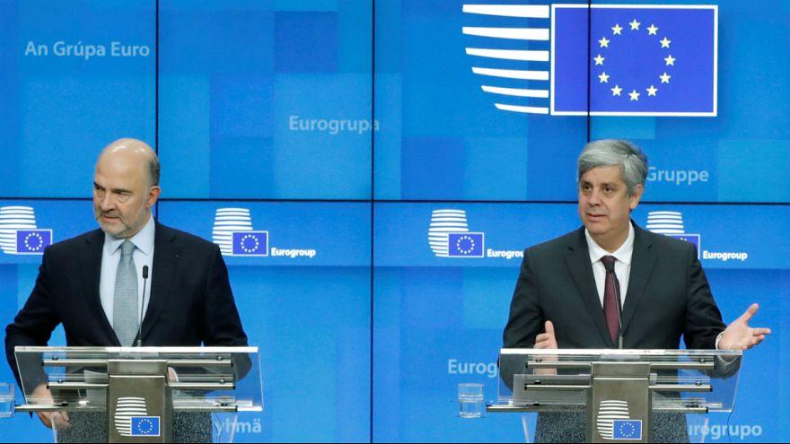 Pierre Moscovici e Mário Centeno anuncia acordo do Eurogrupo