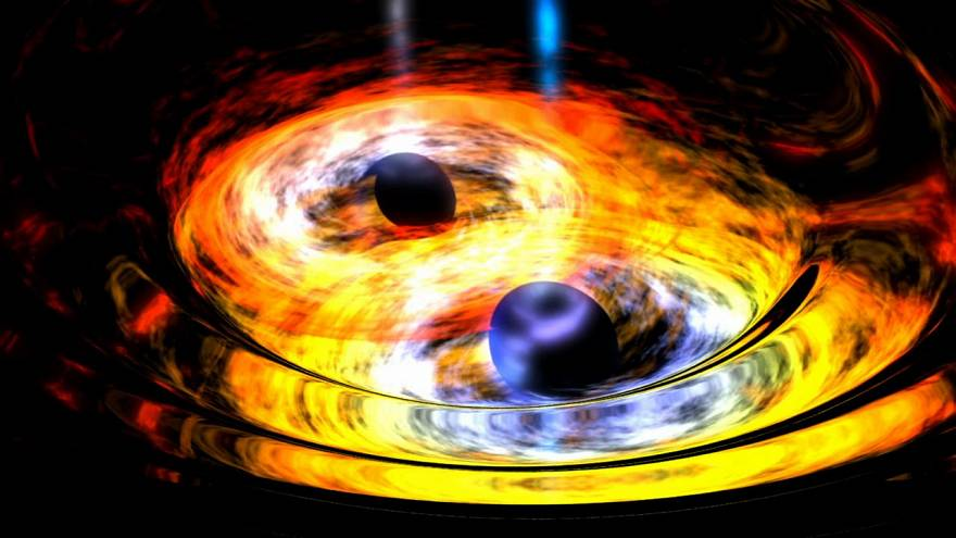 Zwei schwarze Löcher nähern sich einander (Weltraumteleskop WISE)