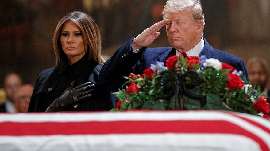 Washington: Trump erweist George H.W. Bush letzte Ehre