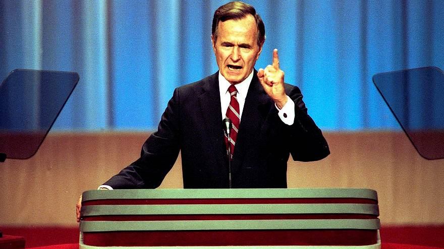 George H.W. Bush accepts the Republican nomination for president.