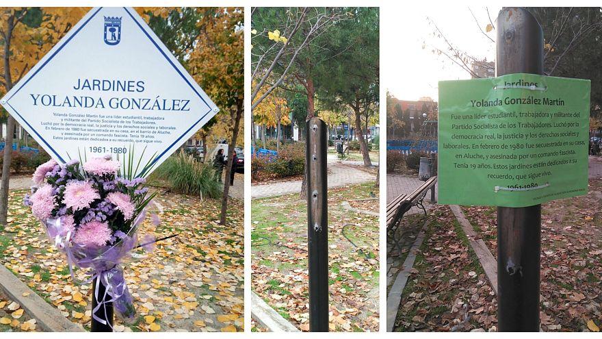 La historia detrás de una placa arrancada y reconstruida por vecinos de Madrid