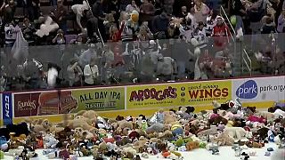 شاهد: دمى الدببة تغزو ملعبا للهوكي على الجليد