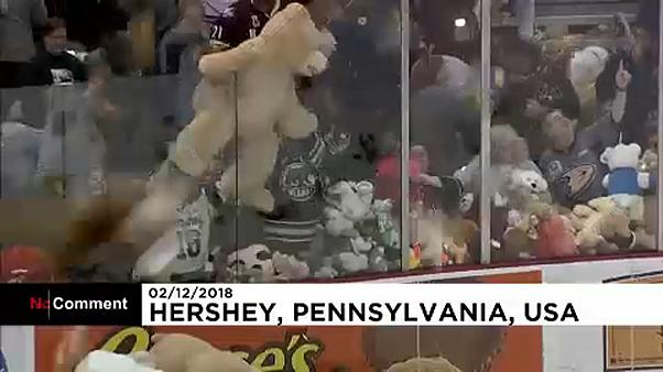 Watch: Hershey Bears break world record in largest teddy bear toss