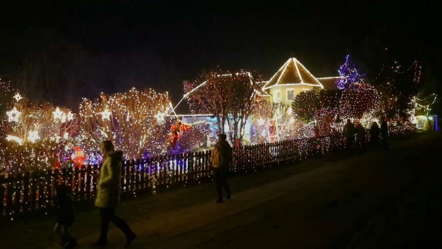 Austrian Christmas house dazzles with lights and inflatable figures