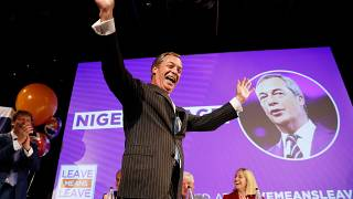 Nigel Farage, reacts at a 'Leave Means Leave' rally in September 2018