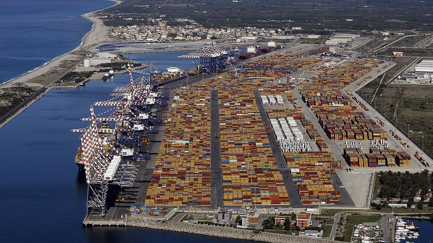 Italy's biggest container port Gioia Tauro in calabria