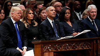 مراسم تشییع جورج بوش پدر با حضور ترامپ