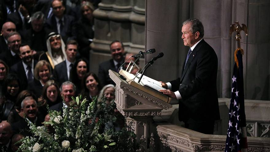 George W Bush delivers a eulogy at his father's funeral
