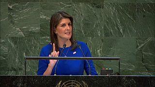 مندوبة واشنطن لدى الأمم المتحدة نيكي هيلي أمام الجمعية العامة 06-12-2018
