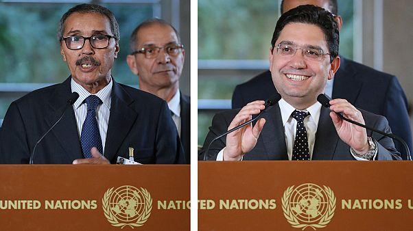 Negociadores del F. Polisario Jatri Aduh (i) y Marruecos Naser Burita (d)