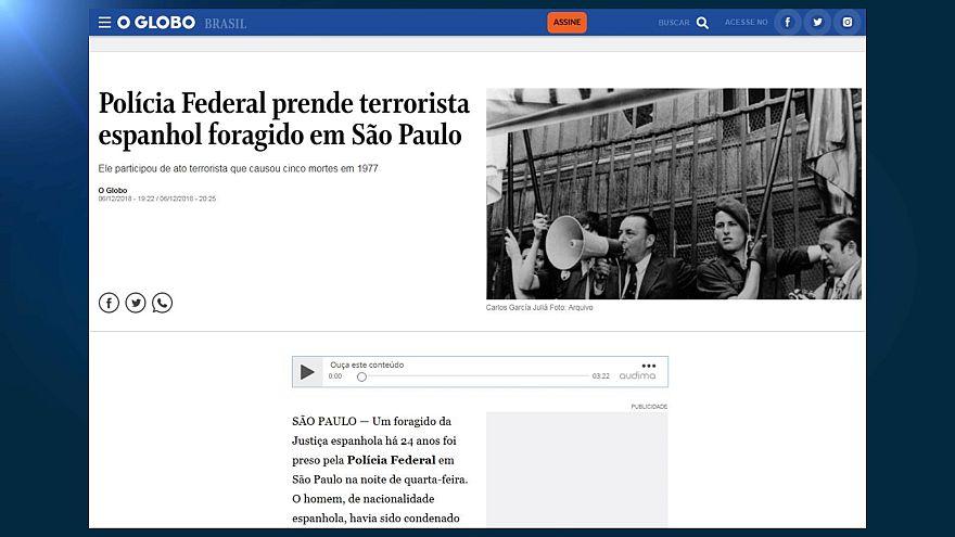 Portada digital del diario brasileño O Globo informando de la detención