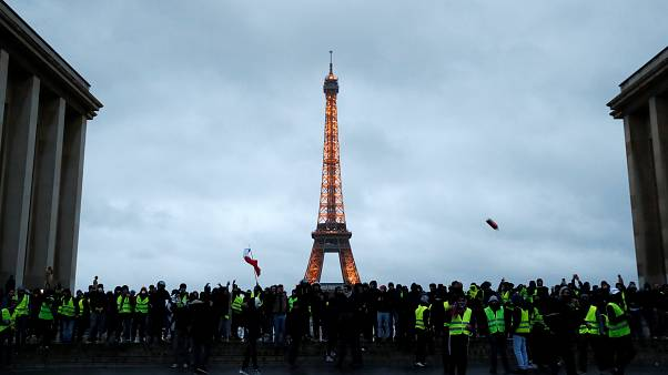 Protesters wearing yellow vests gather at Trocadero place