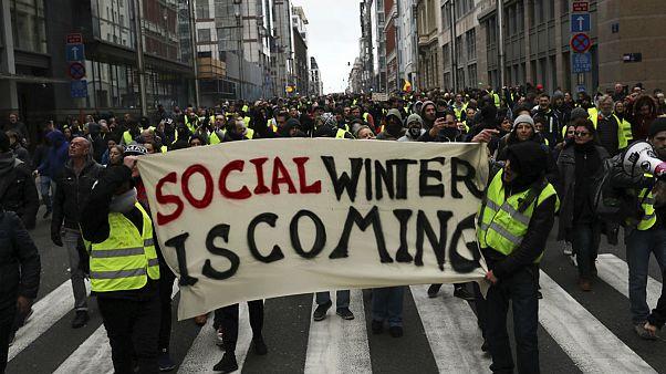 جلیقه زردهای بروکسل خواستار استعفای رهبران فرانسه و بلژیک شدند