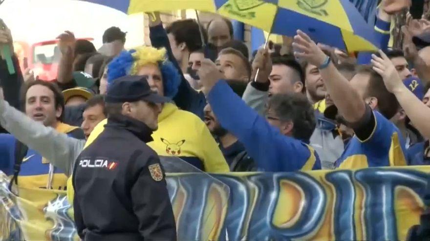 شاهد: مناصرو نادي بوكا يستعدون للنهائي المصيري ويغمرون شوارع مدريد بالهتفات والألوان