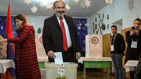 Nikol Pashinyan casts his ballot during an early parliamentary election