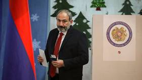 Nikol Pashinyan votes during Armenia's snap election on Sunday