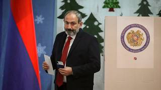 Nikol Pashinyan votes during Armenia's snap election on Sunday