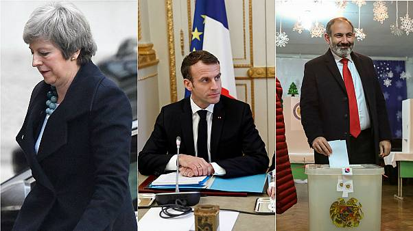 Theresa May, Emmanuel Macron, Nikol Pashinyan