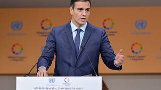 El presidente del Gobierno español, Pedro Sánchez, durante su intervención