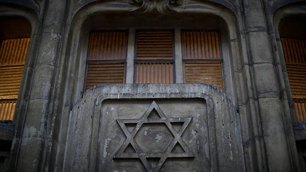 The Star of David on the facade of a synagogue in Paris, France.