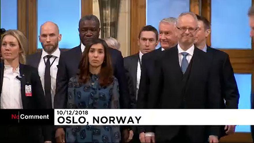 Denis Mukwege and Nadia Murad speak after receiving the Nobel Peace Prize