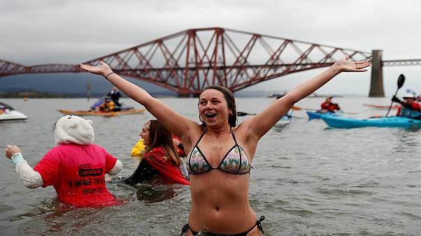 The Loony Dook is held on January 1st by the Forth Bridges, near Edinburgh